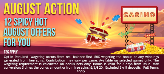 august action - Take Part in August Action at Sparkle Slots